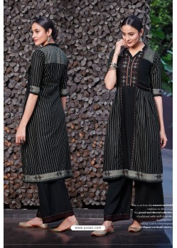 Black Cotton Satin Printed Kurtis With Palazzo