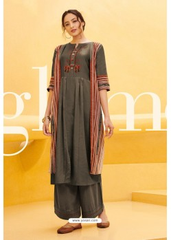 Dull Grey Cotton Satin Printed Kurtis With Palazzo