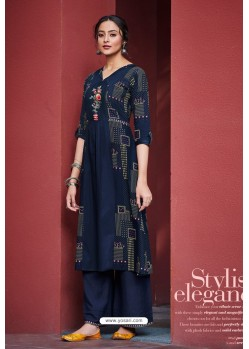 Navy Blue Cotton Satin Printed Kurtis With Palazzo
