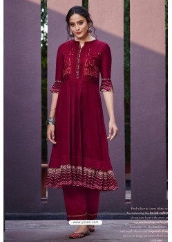 Maroon Cotton Satin Printed Kurtis With Palazzo
