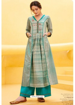 Off White And Turquoise Cotton Satin Printed Kurtis With Palazzo