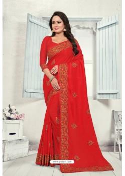 Red Art Silk Resham Embroidered Saree