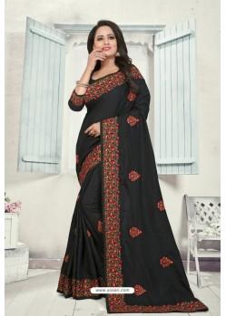 Black Art Silk Resham Embroidered Saree