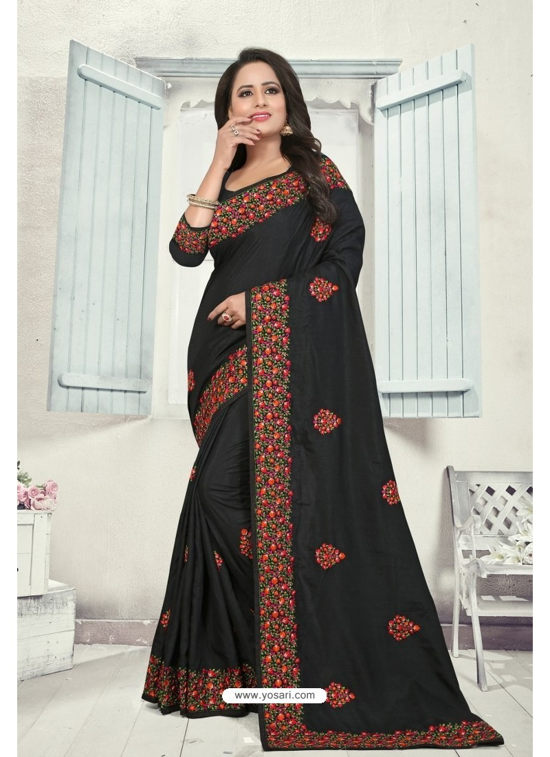 Black Art Silk Resham Embroidered Saree
