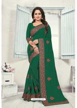 Dark Green Art Silk Resham Embroidered Saree