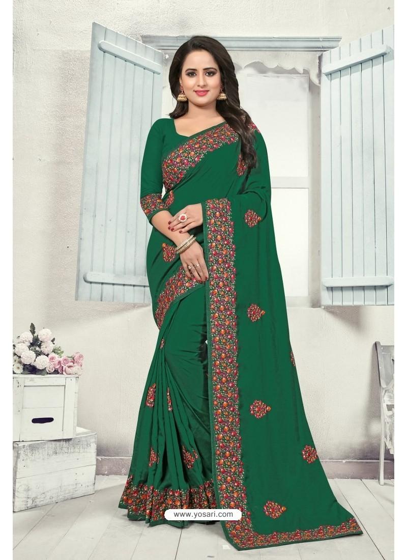 Dark Green Art Silk Resham Embroidered Saree