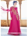 Hot Pink Net Designer Gown