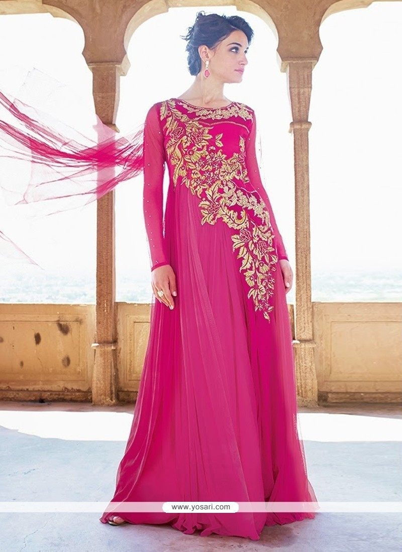 Shop online Hot Pink Net Designer Gown