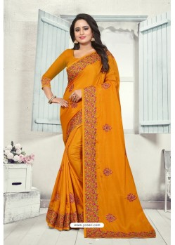 Mustard Art Silk Resham Embroidered Saree