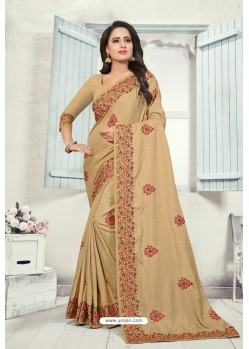 Beige Art Silk Resham Embroidered Saree