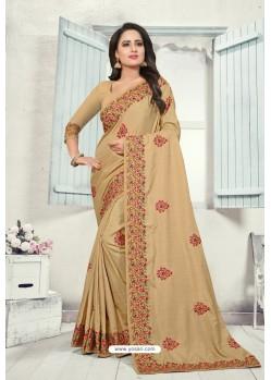 Beige Art Silk Resham Embroidered Saree