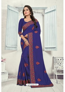 Royal Blue Art Silk Resham Embroidered Saree