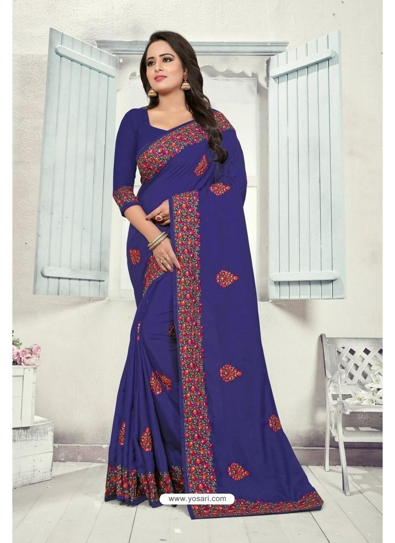 Royal Blue Art Silk Resham Embroidered Saree