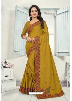 Marigold Art Silk Resham Embroidered Saree