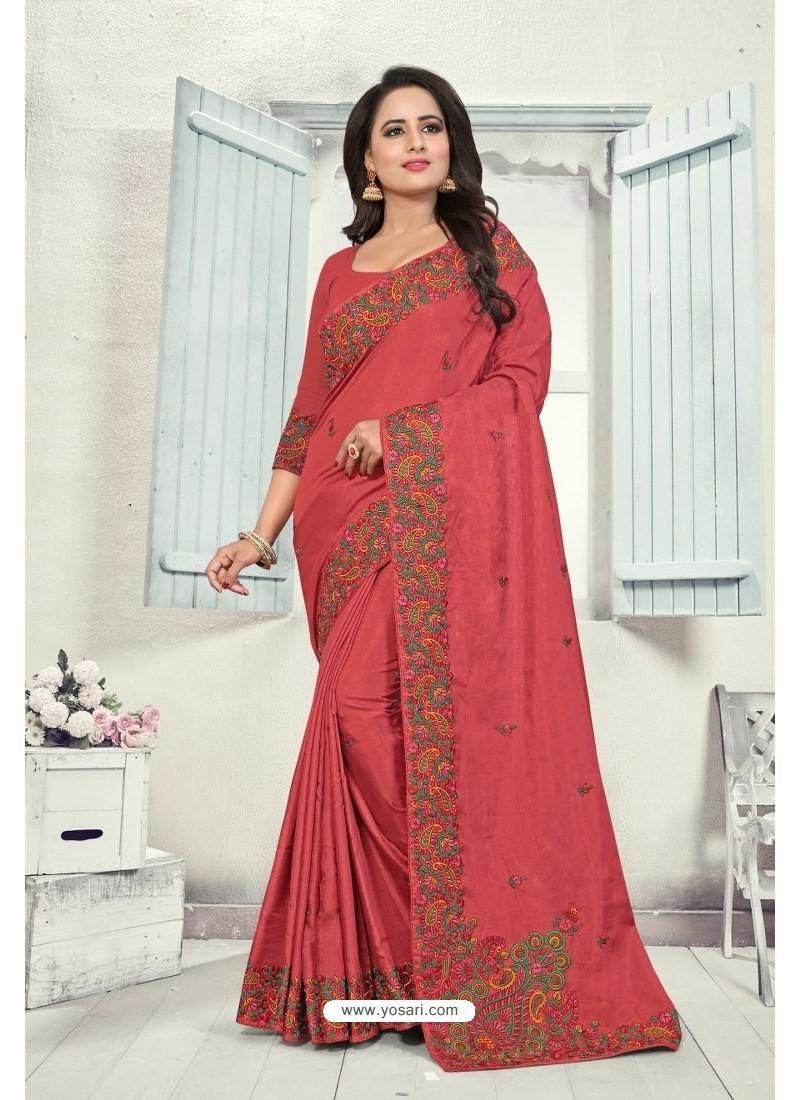 Light Red Art Silk Resham Embroidered Saree