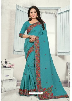 Turquoise Art Silk Resham Embroidered Saree