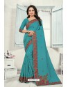Turquoise Art Silk Resham Embroidered Saree