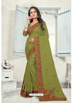 Mehendi Art Silk Resham Embroidered Saree
