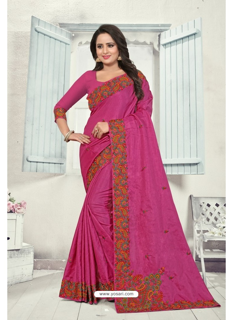 Rani Art Silk Resham Embroidered Saree