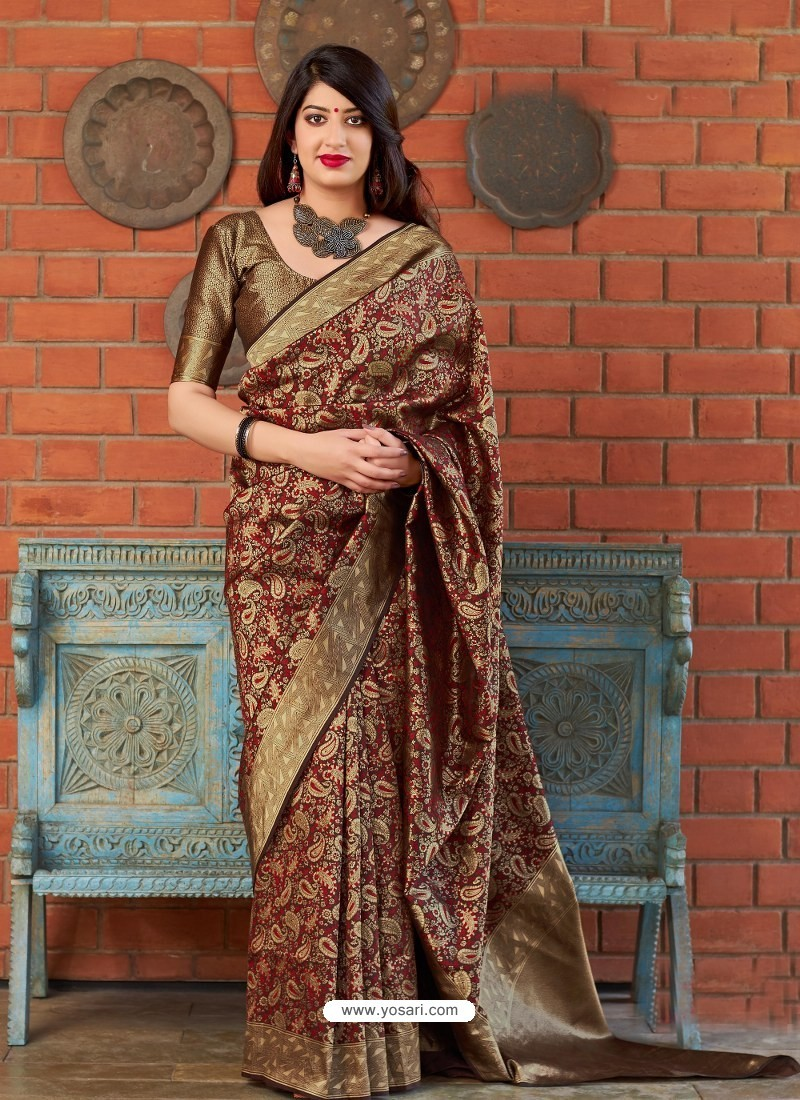 Maroon And Gold Banarasi Silk Jacquard Worked Designer Saree