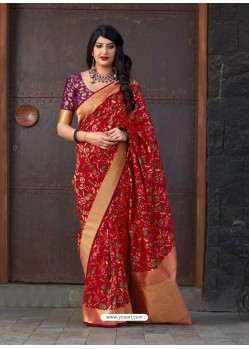 Red Banarasi Silk Jacquard Worked Designer Saree