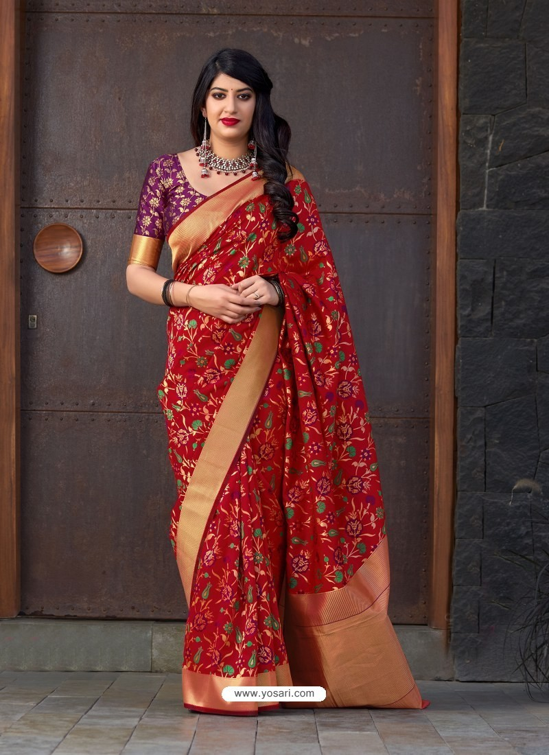 Red Banarasi Silk Jacquard Worked Designer Saree
