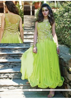 Fabulose Green Net Designer Gown