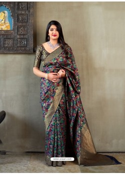 Navy Blue Banarasi Silk Jacquard Worked Designer Saree