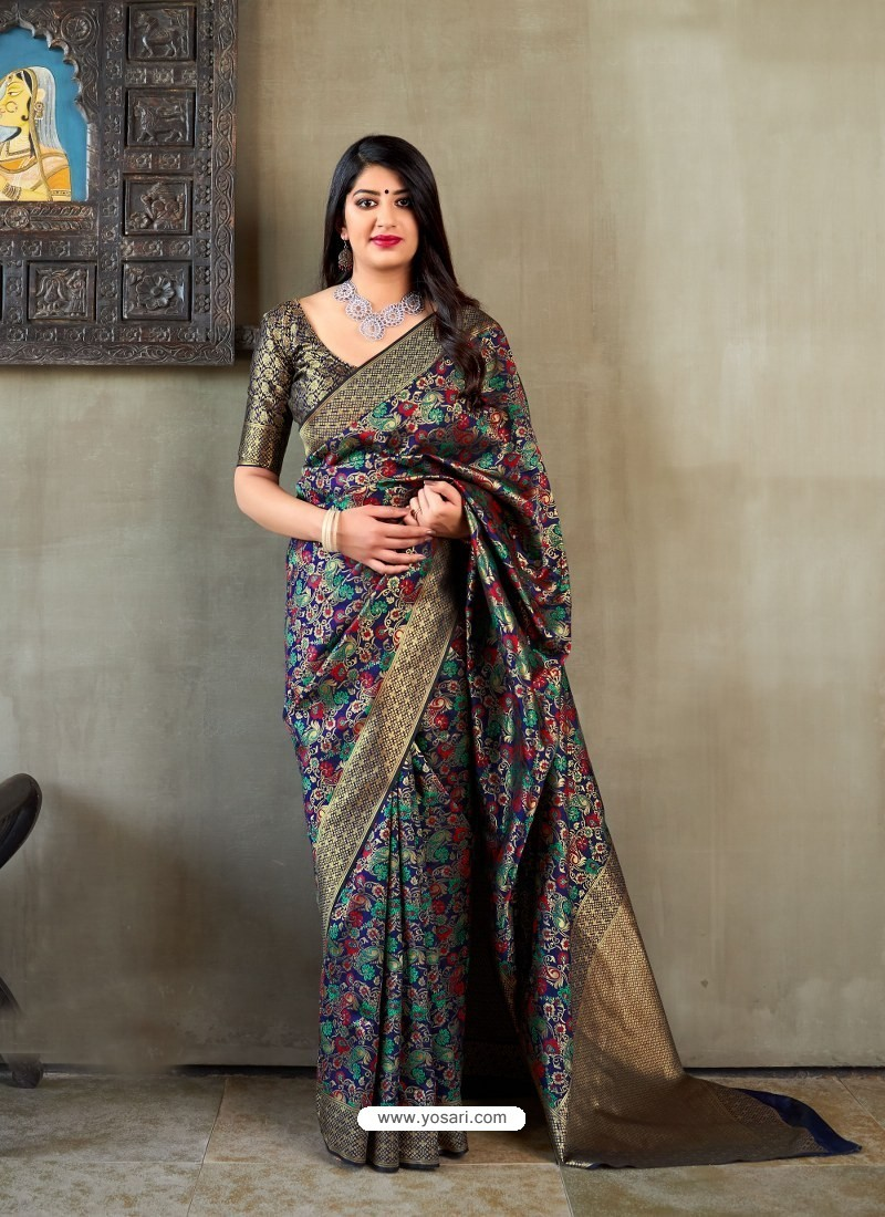 Navy Blue Banarasi Silk Jacquard Worked Designer Saree