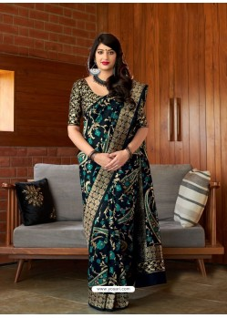 Black Banarasi Silk Jacquard Worked Designer Saree