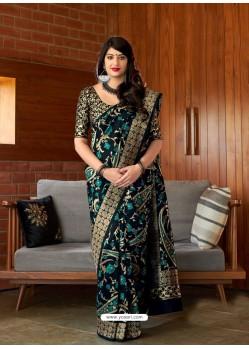 Black Banarasi Silk Jacquard Worked Designer Saree