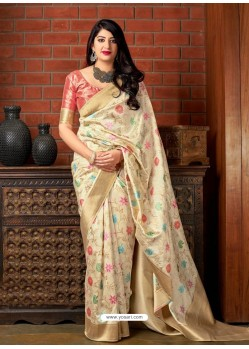 Cream Banarasi Silk Jacquard Worked Designer Saree