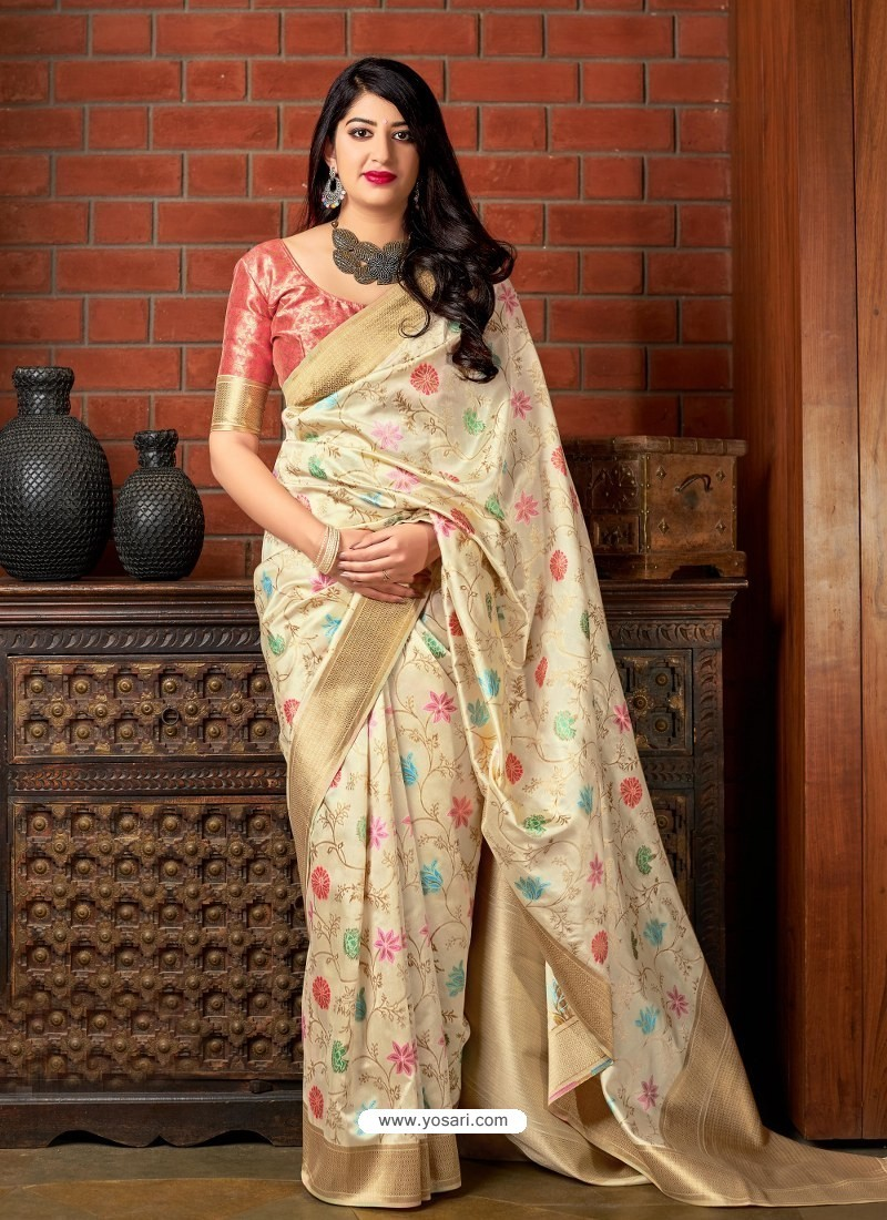 Cream Banarasi Silk Jacquard Worked Designer Saree