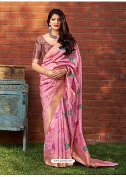 Light Pink Banarasi Silk Jacquard Worked Designer Saree