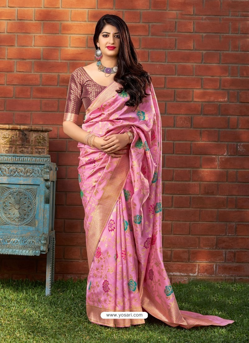 Light Pink Banarasi Silk Jacquard Worked Designer Saree