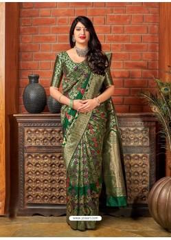 Dark Green Banarasi Silk Jacquard Worked Designer Saree