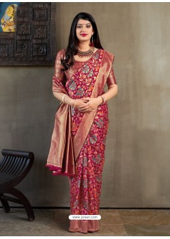 Deep Wine Banarasi Silk Jacquard Worked Designer Saree