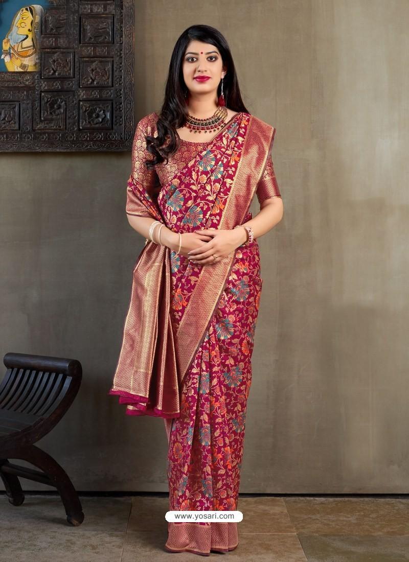 Deep Wine Banarasi Silk Jacquard Worked Designer Saree