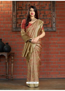 Gold Banarasi Silk Jacquard Worked Designer Saree