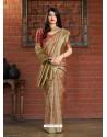 Gold Banarasi Silk Jacquard Worked Designer Saree