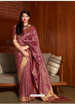 Medium Violet Banarasi Silk Jacquard Worked Designer Saree