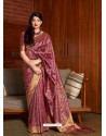 Medium Violet Banarasi Silk Jacquard Worked Designer Saree