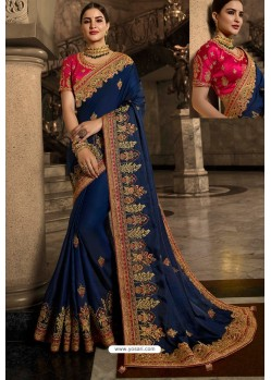 Peacock Blue Soft Silk Embroidered Designer Wedding Saree