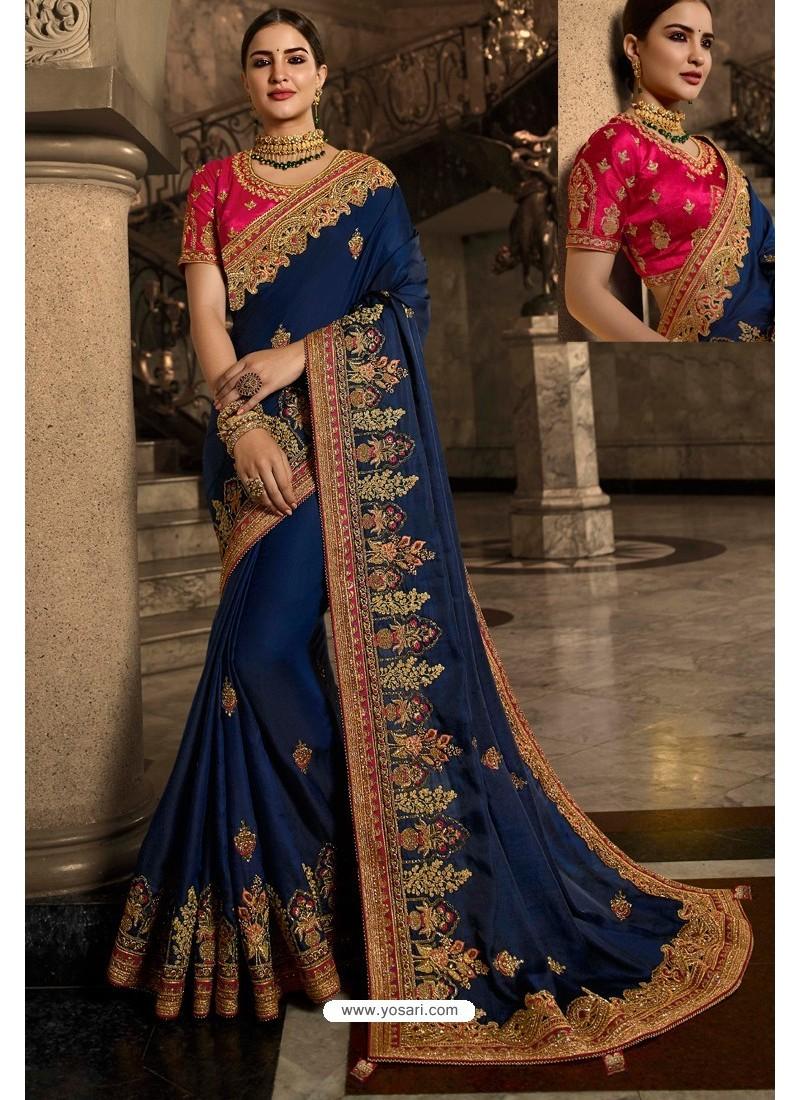 Peacock Blue Soft Silk Embroidered Designer Wedding Saree