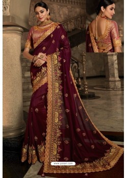 Wine Soft Silk Embroidered Designer Wedding Saree