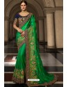 Forest Green Soft Silk Embroidered Designer Wedding Saree