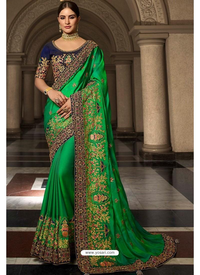 Forest Green Soft Silk Embroidered Designer Wedding Saree