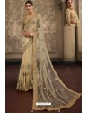 Cream Net Embroidered Designer Wedding Saree