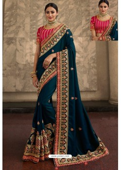 Teal Blue Soft Silk Embroidered Designer Wedding Saree