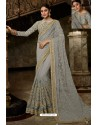 Light Grey Net Embroidered Designer Wedding Saree